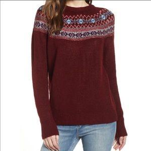 Cotton Emporium fair isle geometric maroon knit
